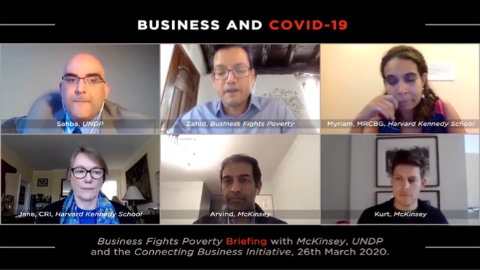 Screenshot of the panelists during the webinar